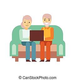 gammal, par, sitta på soffan, med, slick högsta, person, existens, direkt, alla, den, tid, besatt, med, grej