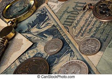 gammal, pengar, med, a, lope, på, den