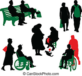 gammal, peop, silhuett, handikappad