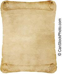 gammal, pergament, rulla