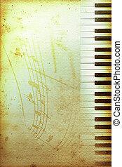 gammal, piano, papper