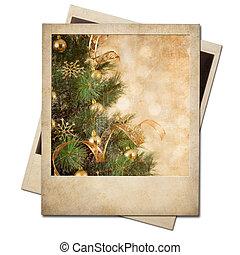 gammal, polaroidkamera, ram, träd, foto, jul