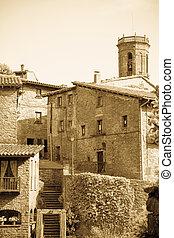 gammal, pyreneerna, årgång, katalan, by, foto