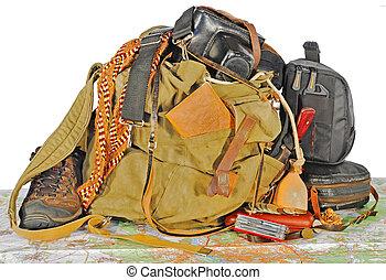 gammal, resenär, utrustning