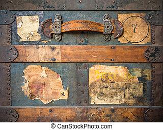 gammal, ridit ut, årgång, resa, etiketter, resväska