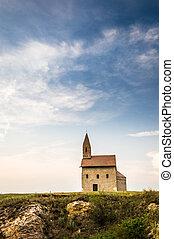 gammal, romersk, kyrka, in, drazovce, slovakien