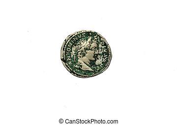 gammal, romersk, mynt