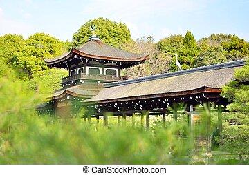 gammal, roofed, bro, in, a, trädgård, hos, heian, jingu, av, kyoto