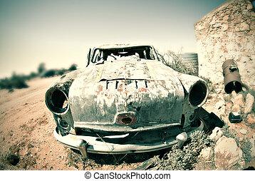 gammal, rostig, bil