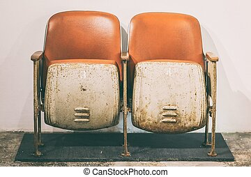 gammal, rostig, bio, stol