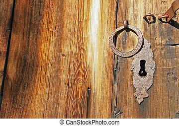 gammal, rostig, järn, låsa