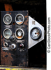 gammal, rostig, kompressor