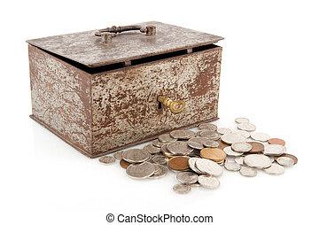 gammal, rostig, pengar boxa
