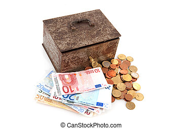 gammal, rostig, pengar boxa, med, euros