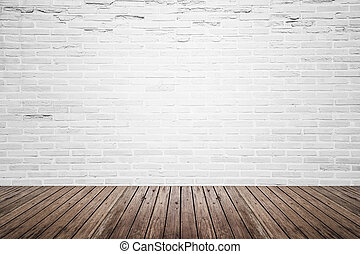 gammal, rum, golv, vägg, ved, inre, tegelsten