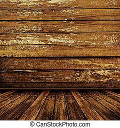 gammal, rum, med, slitet, tapet, och, tidigare, skönhet