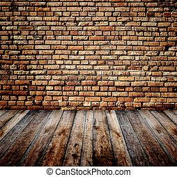 gammal, rum, med, tegelsten vägg