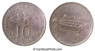 gammal, sällsynt, malaysiska, mynt
