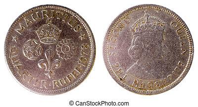 gammal, sällsynt, mynt, av, mauritius