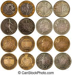 gammal, sällsynt, mynter, av, frankrike