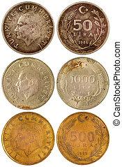 gammal, sällsynt, mynter, av, turkiet