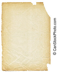 gammal, sönderrivet, isolerat, bakgrund., papper, vit