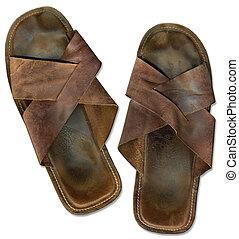 gammal, sandals, strand, ha på sig ut