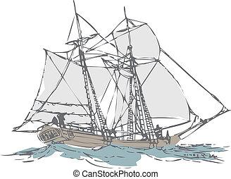 gammal, segelbåt