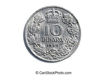gammal, serbian, dinar, isolerat, vita