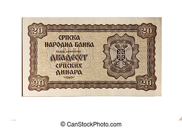 gammal, serbian, dinar, isopated, vita