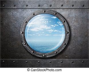 gammal, skepp, rostig, hyttventil, eller, fönster, med, hav, och, horisont, bak