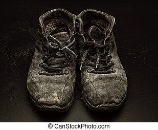 gammal, skor, ha på sig ut