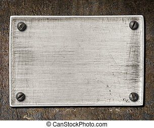 gammal, skrapet, stål, tallrik, struktur, med, skruvar,...