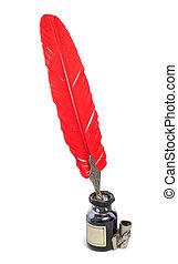 gammal, skrift, sätta, med, röd, vingpenna
