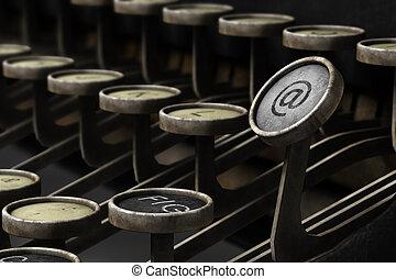 gammal, skrivmaskin, med, email, symbol