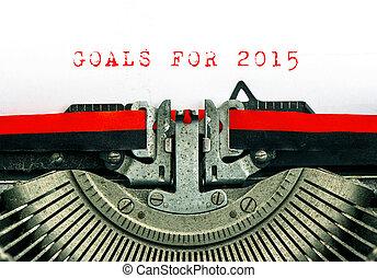 gammal, skrivmaskin, med, prov, text, mål, för, 2015