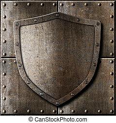 gammal, skydda, rustning, över, metall, bakgrund