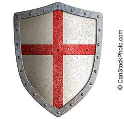 gammal, skydda, templar, metall, isolerat, eller, korslagd