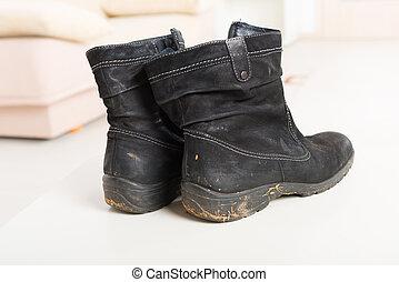 gammal, smutsa ner, skor