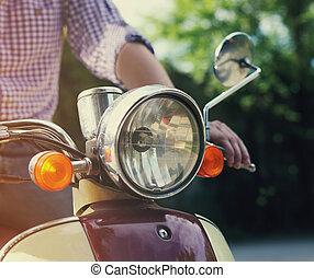 gammal, sparkcykel, ung,  retro, ridande,  man