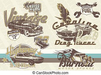 gammal, sport, bilar