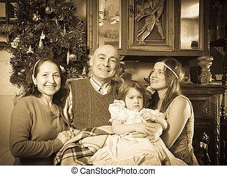 gammal, stående, släkt jul, lycklig