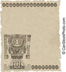 gammal, stam, mayan, symboler, inka, vektor, papper