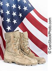 gammal, strid, stövel, med, amerikan flagga