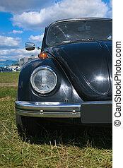 gammal, svart, bil