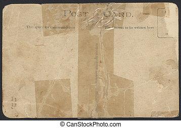 gammal, taped, vykort, baksida