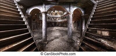 gammal, teater, hdr, panorama