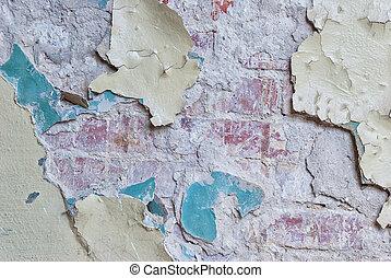 gammal, tegelsten, plåster vägg, skalande