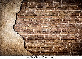 gammal, tegelsten vägg, delvis, skadat