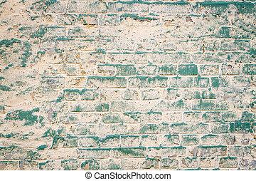 gammal, tegelsten vägg, med, skalning målar